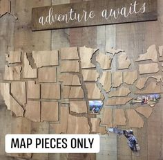 """This beautifully crafted wooden map of the United States is a perfect way to showcase the memories you've made throughout your travels. Includes all 50 states. x thick finished plywood. DOES NOT include """"adventure"""" signs or backdrop. Wooden Map, Wooden Wall Art, Wooden Walls, Rustic Walls, Rustic Wall Decor, Farmhouse Decor, Farmhouse Ideas, Map Pictures, Photo Maps"""