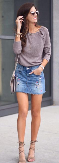 #spring #outfits  Grey Knit & Embroidered Denim Skirt