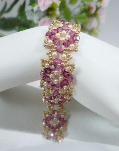 Bracciale intrecciato Swarovski Crystal Rose in Raso