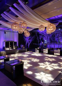 Snowlakes projected to the dance floor. Take a look at this Winter Wonderland Utah Wedding: http://www.colincowieweddings.com/flowers-and-decor/utah-winter-wonderland-wedding