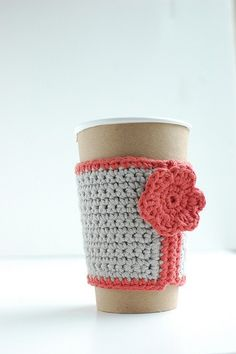 Gray coffee cup cozy with pink flower by thecozyproject, $16.00