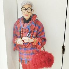 Iris Apfel made an appearance backstage at Ralph Rucci.