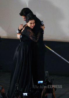 Bollywood actors Shahrukh Khan & Kajol Devgn at Maratha Mandir theatre to…