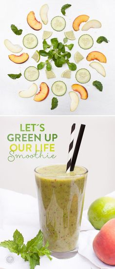Let´s green up our life-Smoothie Rezept mit Pfirsich, Minze, Feldsalat, Limette, Gurke & Apfel #Smoothiemontag #greensmoothierevolution2015  feiertaeglich.de