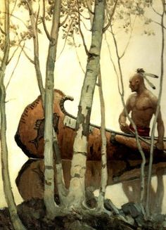 "NC Wyeth    - Born in MA in 1882  - worked on "" true, solid American subjects–nothing foreign about them "" in early career, mostly westerns  - later worked on medieval and fairy tale subject matters  - most famous for his 'Treasure Island' illustrations  - created over 3,000 paintings, illustrated 112 books  - died in train accident in 194"