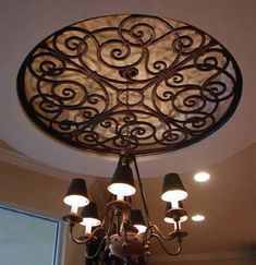 Iron art for tray ceiling - love!