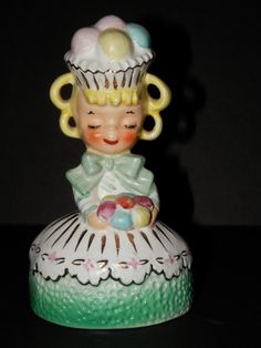 Vintage 1950s Enesco Imports Sweet Shoppe Lady Figurine Mid Century Collectible Cupcake Girl by TresorsEnchantes on Etsy