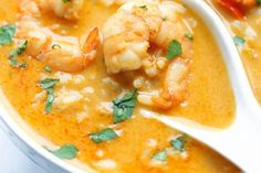 Thai soup with shrimp and coconut milk Source by Asian Recipes, Gourmet Recipes, Cooking Recipes, Healthy Recipes, Confort Food, Thai Soup, Curry Shrimp, Thai Shrimp, Dining