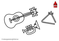 Draw Musical Instruments | Colored Instruments | Musical Instruments Drawing ♪♫