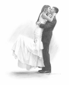 'Wedding kiss drawing' by mike theuer. This pencil portrait of a new bride kissing her groom was commissioned by the groom from one of their wedding photos. I added the shadow underneath and omitted the background. Pencil Portrait Drawing, Portrait Sketches, Pencil Art Drawings, Cartoon Sketches, Art Sketches, Wedding Drawing, Wedding Portraits, Newlyweds, How To Draw Hands