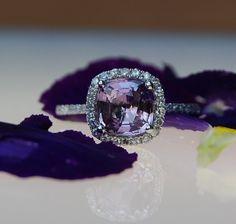 1.82ct Lavender violet cushion sapphire ring diamond ring engagement ring. $2,000.00, via Etsy.