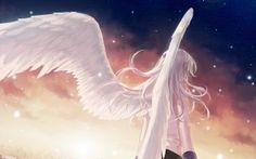 Preview wallpaper angel beats, girl, wings, angel, city