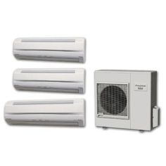 WallMount Tri Zone BTU Air Conditioner Independently condition 3 separate zones with 3 indoor and a single outdoor unit. Ac Maintenance, Split Ac, Ac Units, Modular Homes, Energy Efficiency, The Help, Home Improvement, Air Conditioners, The Unit