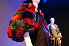 """Denim gown with lapin- and mink-fur pompoms in 1986's """"Carmen"""", designed by Karl Lagerfeld for Fendi"""