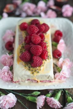 Earl Grey and Raspberry Semifreddo with Passion Fruit