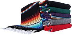 "El Paso Designs Serape Style Falsa Blanket. Classic Mexican Style Serape Pattern in Vivid Colors. Hand Woven Acrylic, 57"" x 74"". (Black)"