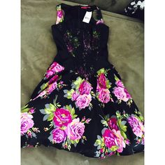 Betsey Johnson Dress Black floral Betsey Johnson dress with lace top. Tulle underneath the skirt for a fluffy look :) Betsey Johnson Dresses Mini
