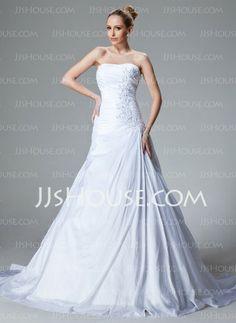 Wedding Dresses - $199.99 - A-Line/Princess Sweetheart Court Train Taffeta Wedding Dress With Ruffle Lace Beadwork (002000827) http://jjshouse.com/A-Line-Princess-Sweetheart-Court-Train-Taffeta-Wedding-Dress-With-Ruffle-Lace-Beadwork-002000827-g827