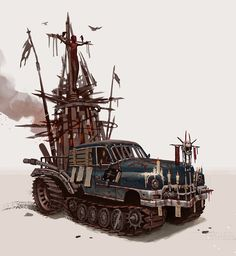 study for post-apocalyptic vehicle. civilization was destroyed by kinda very huge and unknown force. frightened people got insane, and many Apocalypse World, Apocalypse Art, Mad Max Fury Road, Dystopia Rising, Post Apocalyptic Art, Monster Under The Bed, Cyberpunk Art, Dieselpunk, Concept Cars