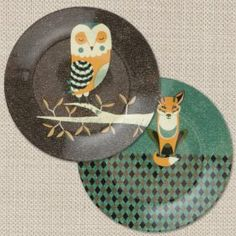 Wildlife - 2 dinner plates (Owl and Fox) - www.magpieline.com