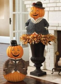 How Stinkin' Cute!  Pumpkin People Fall Decorating Ideas