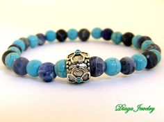 Turquoise and Sodalite Flower Charm Bracelet