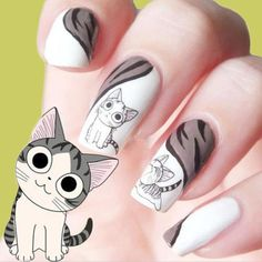 Lovely Sweet Water Transfer Cartoon Black Grey Cute Cat Nail Art Sticker Full Wraps Manicure Decal * Learn more by visiting the image link. Cat Nail Art, Cat Nails, Nail Art Designs, Uñas Fashion, Fashion Sale, Fashion Beauty, Gel Acrylic Nails, Nail Patterns, Manicure E Pedicure