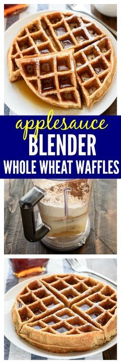 Fluffy, golden waffles that you make in your BLENDER — Made with applesauce and whole wheat flour, these healthy waffles couldn't be easier and they taste amazing!
