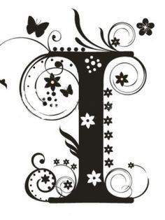 floral alphabet black - Google Search