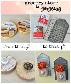 Grocery Store to Gorgeous. Turn cheese boxes into storage containers and pepper boxes into flower holders - MySalvagedTreasures.com