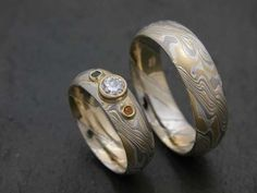 Mokume Gane wedding set by James Binnion with accent stones to complement the metal colors. Rings are custom made, so let your imagination soar. Wedding Sets, Wedding Bands, Wedding Ring, Bridal Jewelry, Gemstone Jewelry, Enagement Rings, Best Engagement Rings, Couple Rings, Jewelry Design