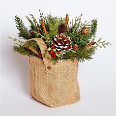 8 1/2 inch H x 8 1/2 inch W Burlap Sack Arrangment with Faux Pine and | Harvest of Barnstable