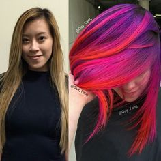 #TransformationTuesday One of my models from the last Chicago show wanted a big change and was ready to have fun. Obviously  she was already gorgeous before but she is down to do something she never done and live it up!  Who is all coming to the COLOR show in New Orleans to my class? I can't wait  to meet you? You can purchase the tickets at @behindthechair_com . See you there. TAG friends who want a transformation