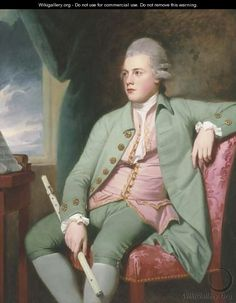 Portrait of Francis Lind, three-quarter-length, seated before a music stand on a pink chair, in a powdered wig, a green coat - George Romney