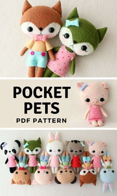 I'm going to have to make these adorable Pocket Pets stuffed animals for my gi. I'm going to have to make these adorable Pocket Pets stuffed animals for my girls. Sewing Stuffed Animals, Cute Stuffed Animals, Stuffed Animal Patterns, Adorable Animals, Stuffed Animal Diy, Fox Crafts, Animal Crafts, Cute Crafts, Upcycled Crafts