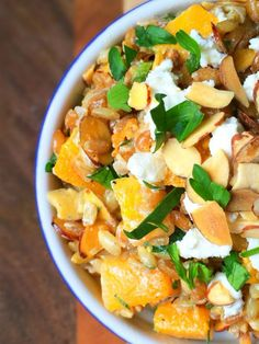 Butternut Squash and Spelt Salad with Goat Cheese and Toasted Almonds #MeatlessMonday