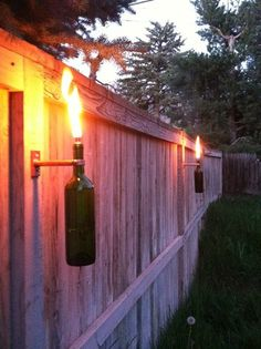 Fancy - Wine Bottle Tiki Torches Improved Set of 2 by GuiltlessGlassware  Jeremy can so make this for you!!!!