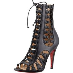Christian Louboutin Azimut Caged Leather Bootie, Black (16.660 DKK) ❤ liked on Polyvore featuring shoes, boots, ankle booties, heels, christian louboutin, ankle boots, lace up ankle boots, high heel bootie, lace up booties and black leather boots