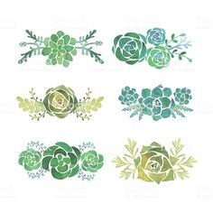Illustration about Watercolor succulent set hand painted on white background. Illustration of green, clip, plant - 55602952 Succulents Drawing, Watercolor Succulents, Watercolor Flowers, Watercolor Paintings, Watercolors, Succulent Tattoo, Posca, Free Vector Art, Art Inspo