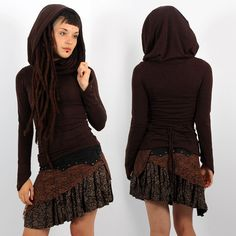 """Shaë"" pullover, Brown. Big collar, falling on shoulders. Beautiful lacing on the back to reveal your silhouette. Elegant and fairy pointy longsleeves ! Form-fitting cut. Pixie Tribal Fairy Boho Look ❃ 42€ ▲◊↕◊▲ Toonzshop is a trip in an Alternative Universe of independent artists, brands and designers."