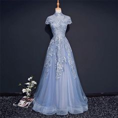 Modest High Neckline Short Sleeve Dusty Blue Long Evening Prom Dresses, Popular Cheap Long 2018 Party Prom Dresses, 17222