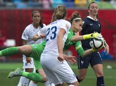 England goalkeeper Karen Bardsley makes a stop against France during the first half of a FIFA Women's World Cup soccer match in Moncton, New Brunswick, Tuesday, June 9, 2015. (Andrew Vaughan/The Canadian Press via AP) MANDATORY CREDIT ▼9Jun2015AP|France beats England 1-0 http://bigstory.ap.org/article/e8876f0f4c5040db832b58d2047dc914/france-beats-england-1-0 #2015_FIFA_Womens_World_Cup