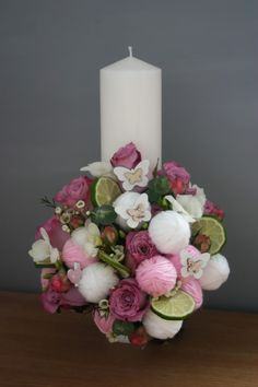 Diy Flowers, Wedding Flowers, Flower Diy, Baptism Candle, Pillar Candles, Baby, Mesas, Embroidery, Candles