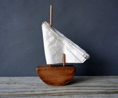 Wood Sailboat Napkin Holder - could we make the base with another material?  polymer clay perhaps?
