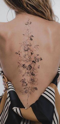 Floral Back Tattoos, Girly Tattoos, Time Tattoos, Pretty Tattoos, Sexy Tattoos, Body Art Tattoos, Sleeve Tattoos, Tatoos, Dope Tattoos For Women