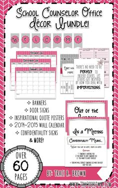 School Counselor Office Decor Bundle! Enjoy over 60 pages of office decor including: banners, posters, confidentiality signs, door signs, hall passes and more! A great packet to start off the new year! www.tracirbrown.com