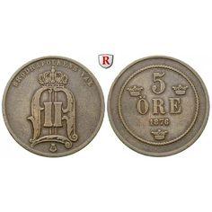Schweden, Oskar II., 5 Öre 1876, ss: Oskar II. 1872-1907. Bronze-5 Öre 1876. Sieg 14; sehr schön 15,00€ #coins