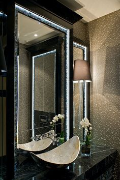 Bespoke cabinetry with inlaid lit mother of pearl detail - Hill House Interiors….♥