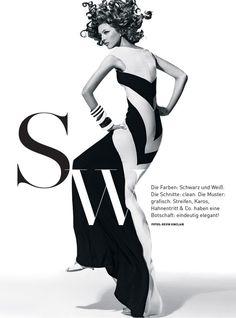 Yulia Kharlapanova Wears Black and White in Madame Magazine February 2013 by Kevin Sinclair