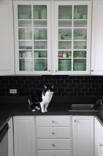 """Love this backsplash via @thebloominghydrangea ...Chalkboard paint and white chalk (for grout lines) to make the most stunning """"subway tile"""""""
